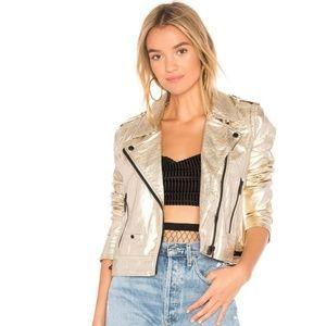 🥀NWOT BLANKNYC Silver Faux Leather Moto Jacket XS